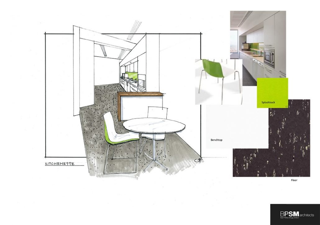 Office kitchenette design and materials e-board