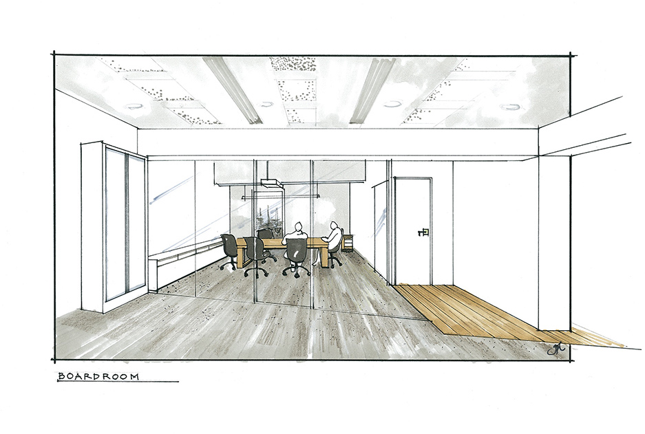Office boardroom concept interior design sketch