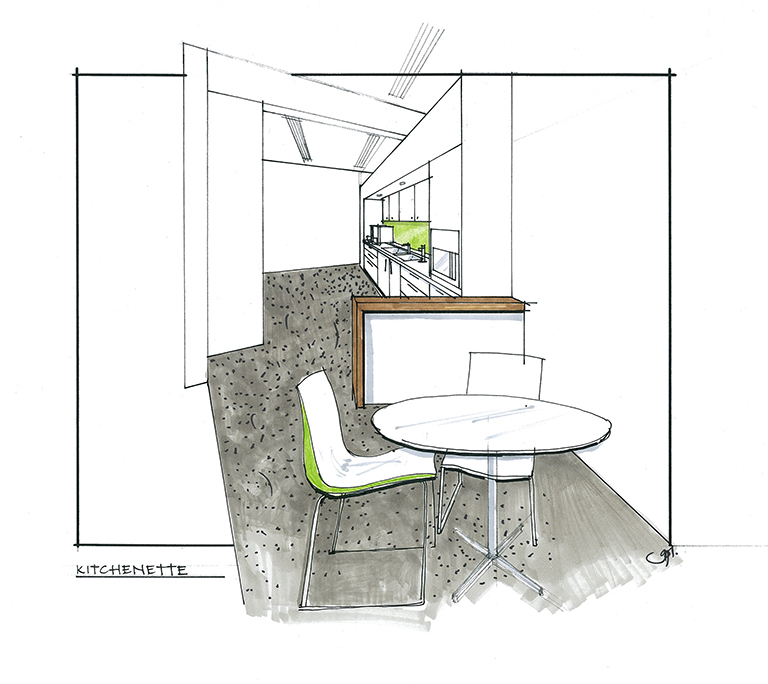 Office kitchenette concept interior design sketch