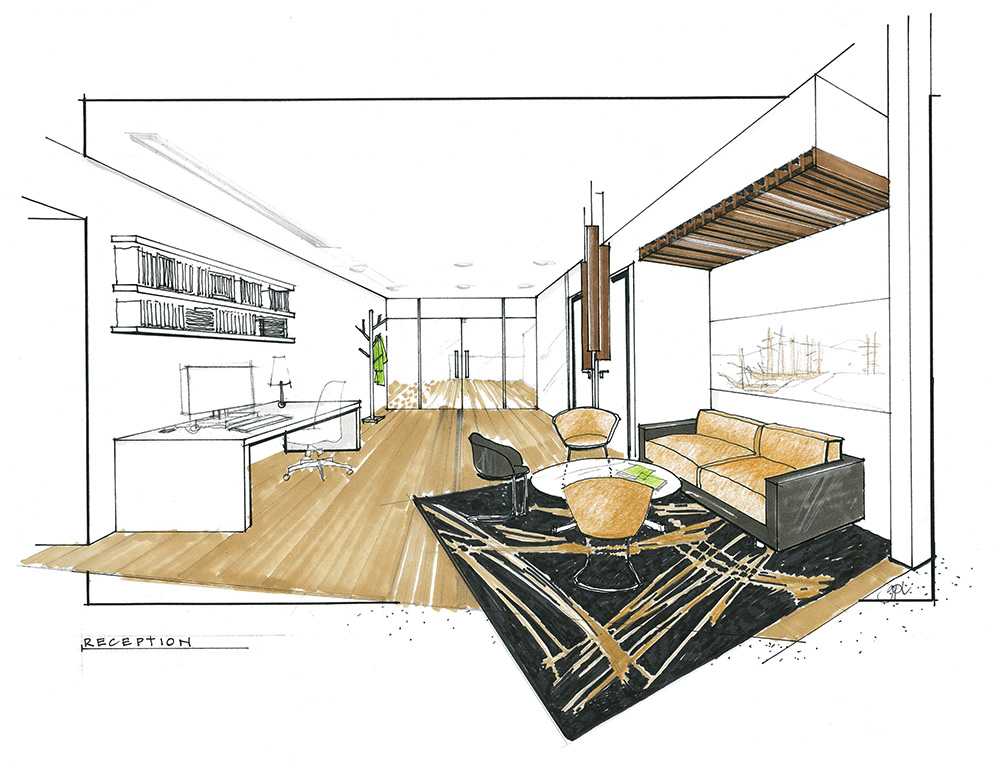 Office concept interior design sketch