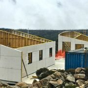 Mount Mawson Public Shelter in construction, Mt Field National Park, Tasmania