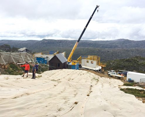 Mt Mawson Construction protecting flora