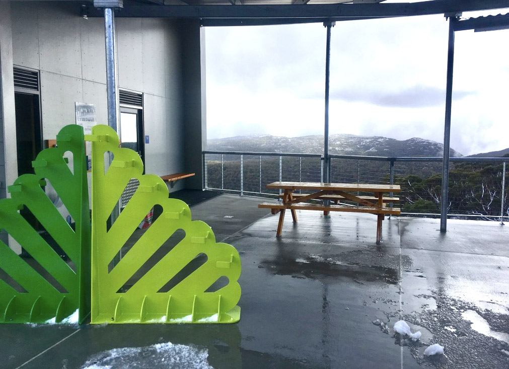 Mt Mawson Day Shelter green ski rack