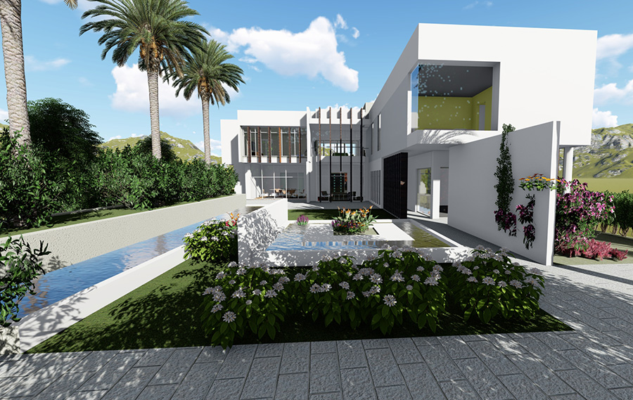 3D Renders and visualisation example project_Residential courtyard