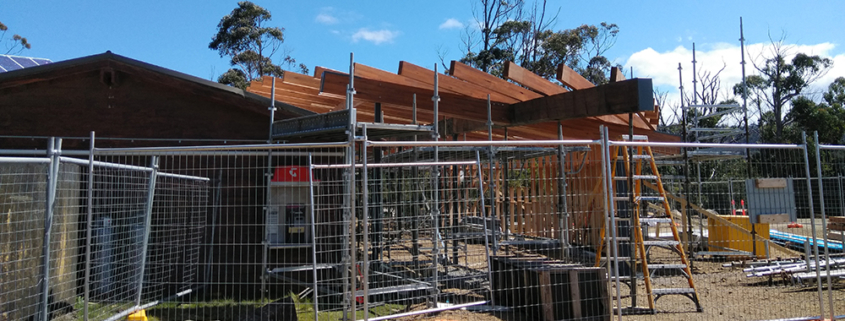 Cockle Creek Precinct Improvement works timber roofing beams exterior