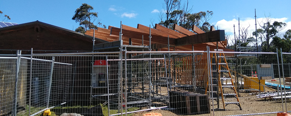 Cockle Creek Precinct Improvement works timber roofing beams exterior